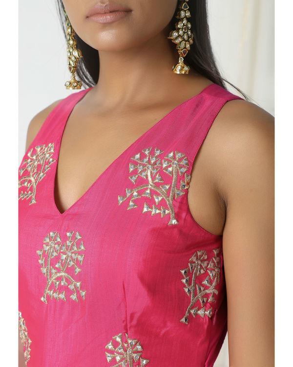 Pink asymmetric hem dress 1