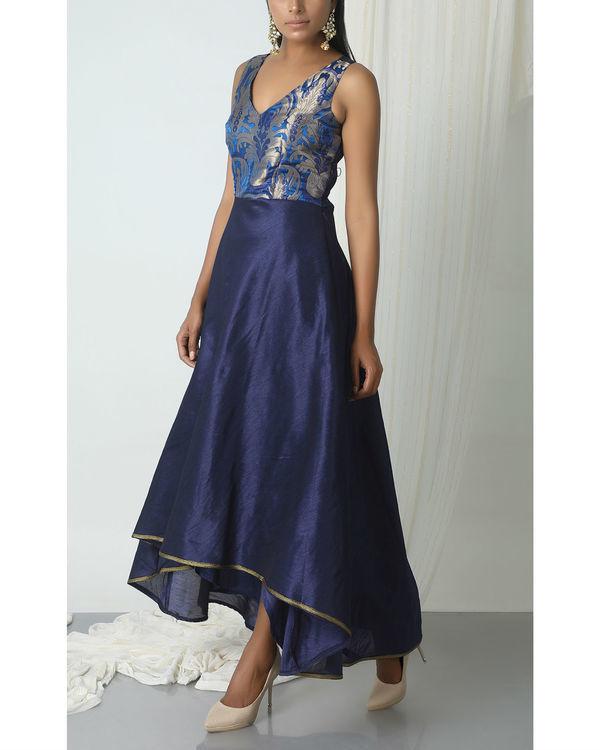 Blue brocade asymmetric hem dress 3