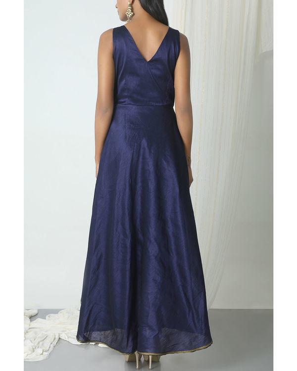 Blue brocade asymmetric hem dress 2