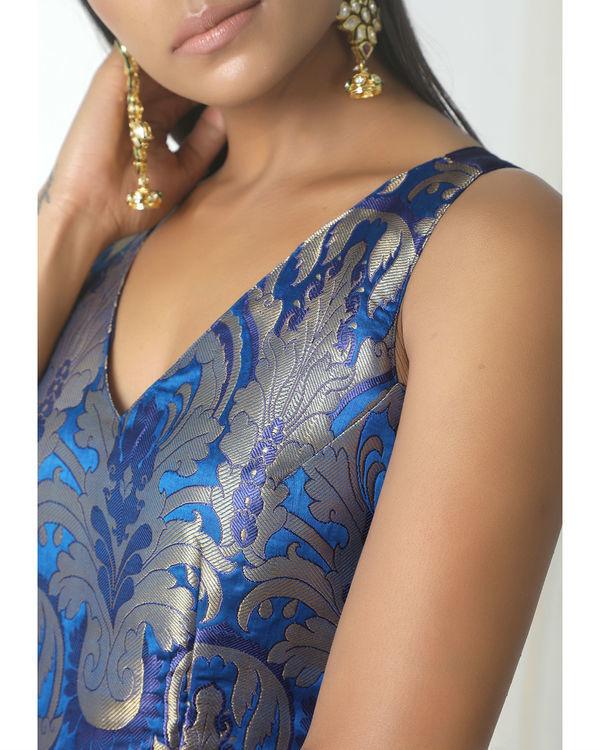 Blue brocade asymmetric hem dress 1