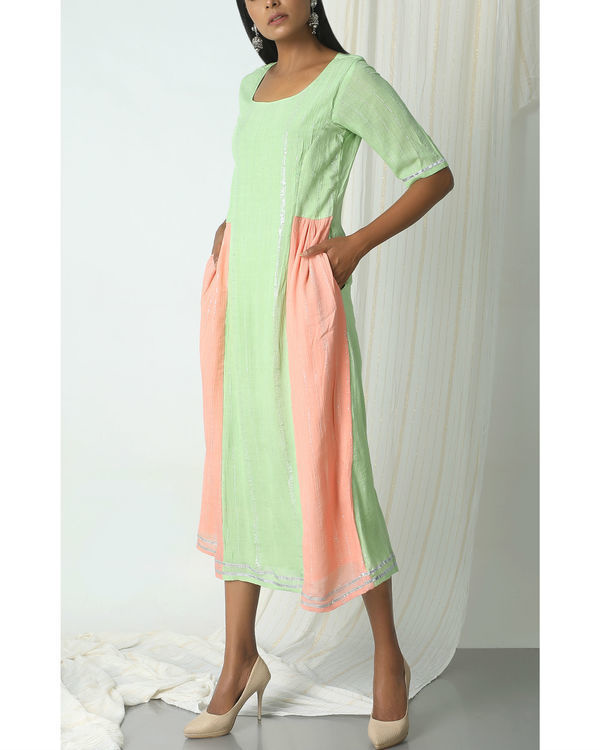 Mint green crinkle peach sides dress 3