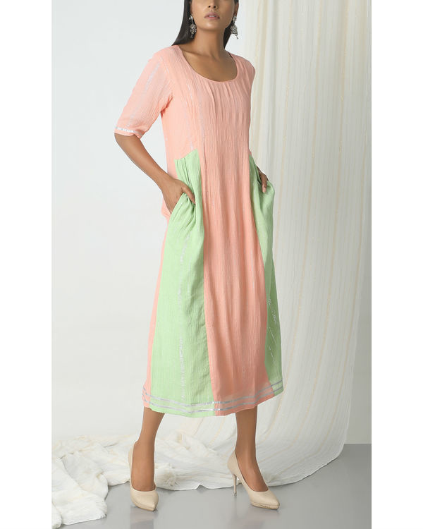 Peach crinkle mint green sides dress 3