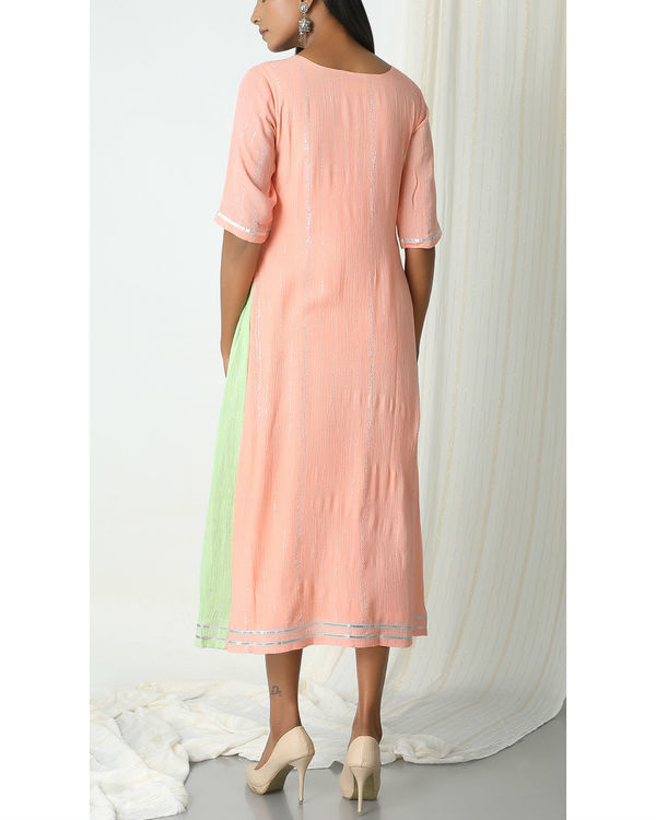 Peach crinkle mint green sides dress 2