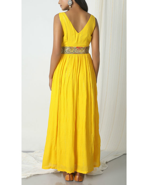 Yellow crinkled lace dress 2