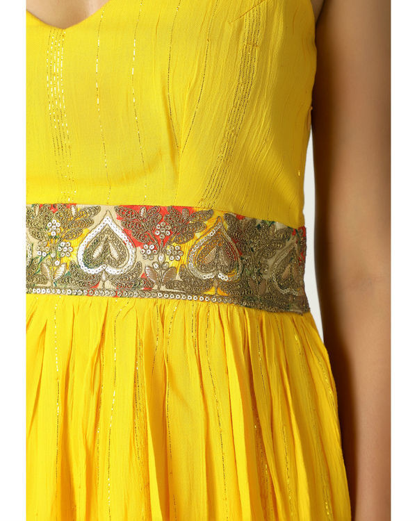 Yellow crinkled lace dress 1