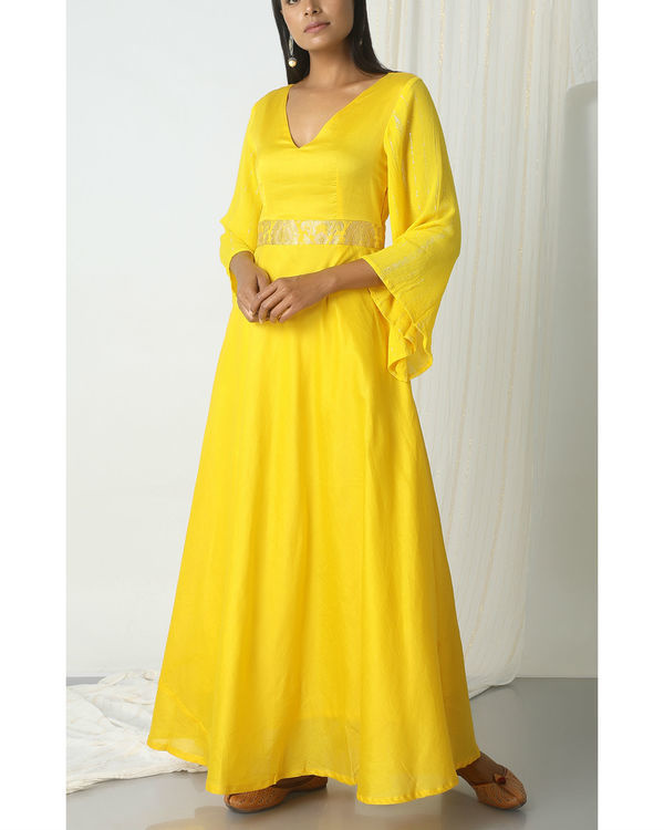 Yellow brocade bell sleeve dress 4