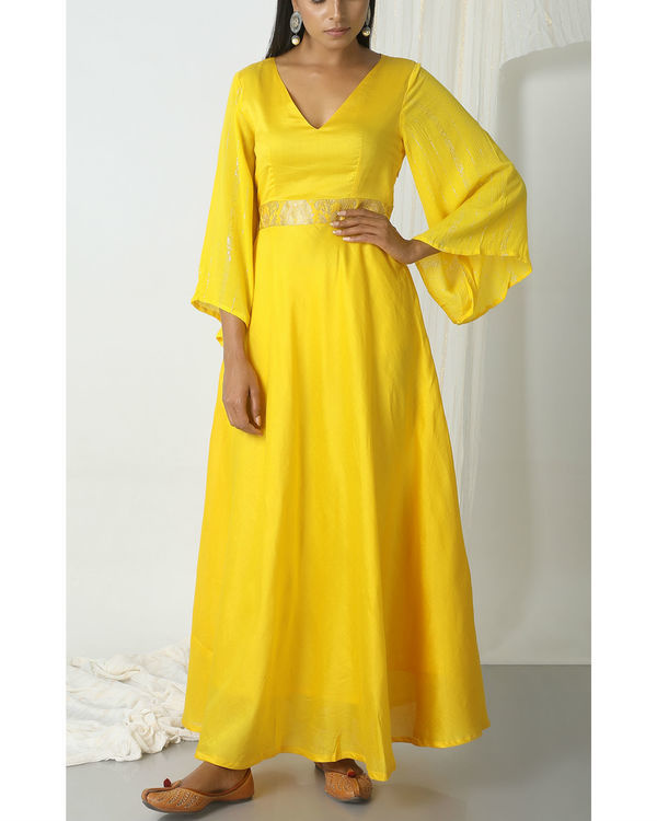 Yellow brocade bell sleeve dress 3
