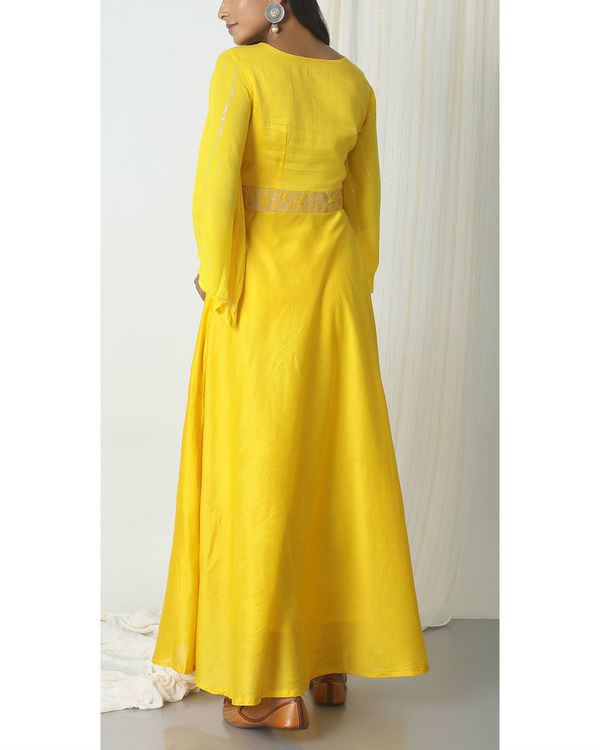 Yellow brocade bell sleeve dress 2