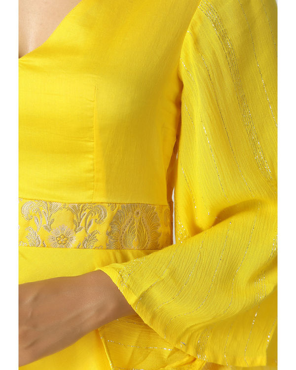 Yellow brocade bell sleeve dress 1
