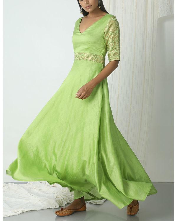 Chartreuse green brocade highlight dress 4
