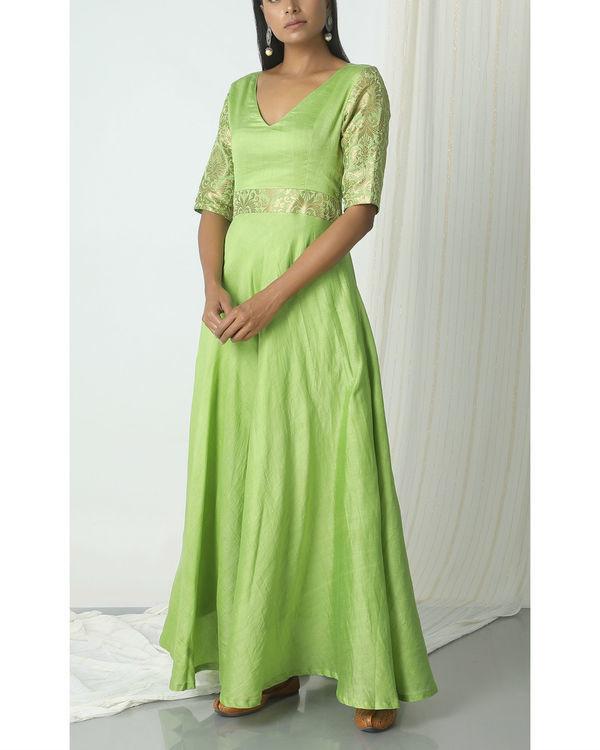 Chartreuse green brocade highlight dress 3