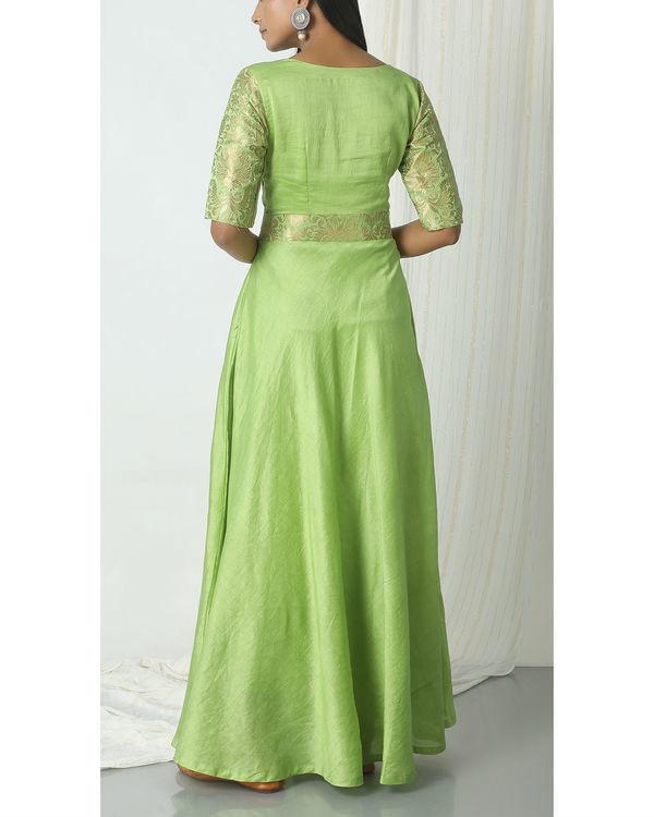 Chartreuse green brocade highlight dress 2