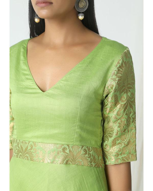 Chartreuse green brocade highlight dress 1