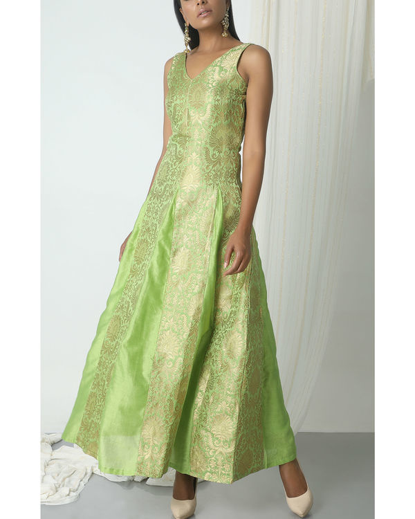 Chartreuse green brocade dress 3