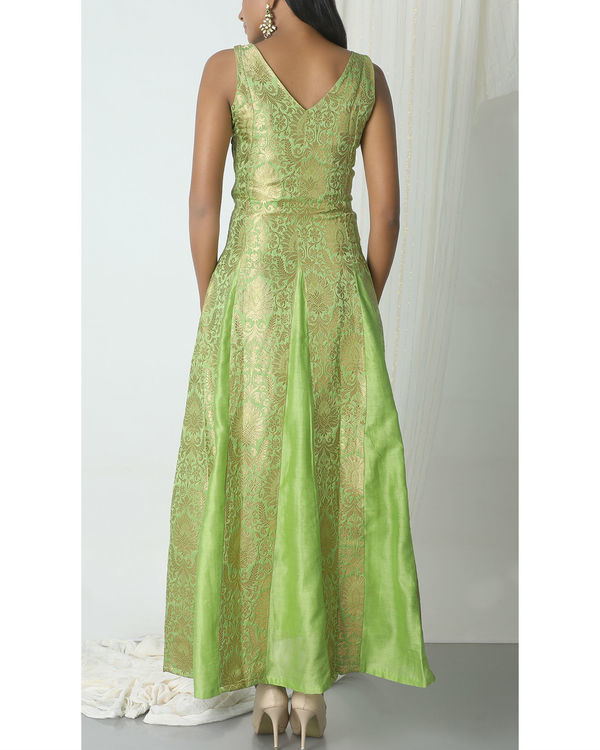 Chartreuse green brocade dress 2