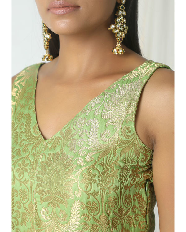 Chartreuse green brocade dress 1