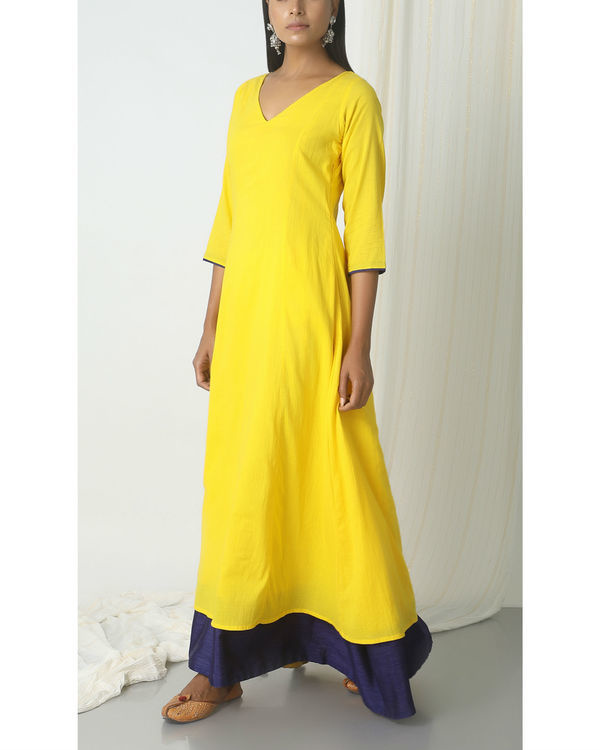Yellow blue peek-a-boo dress 4