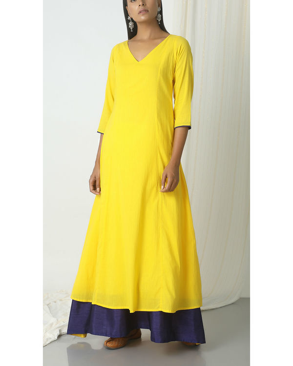 Yellow blue peek-a-boo dress 3
