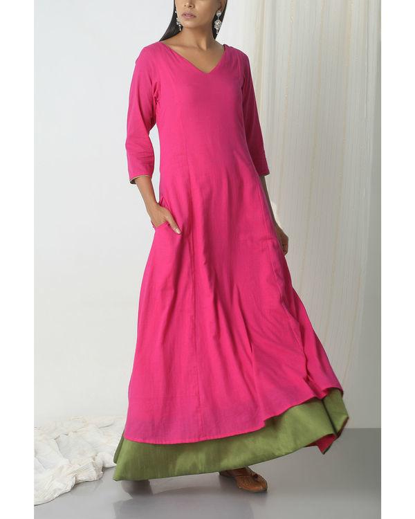Pink green peek-a-boo dress 3