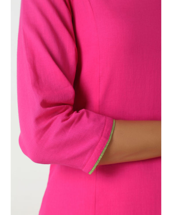 Pink green peek-a-boo dress 1