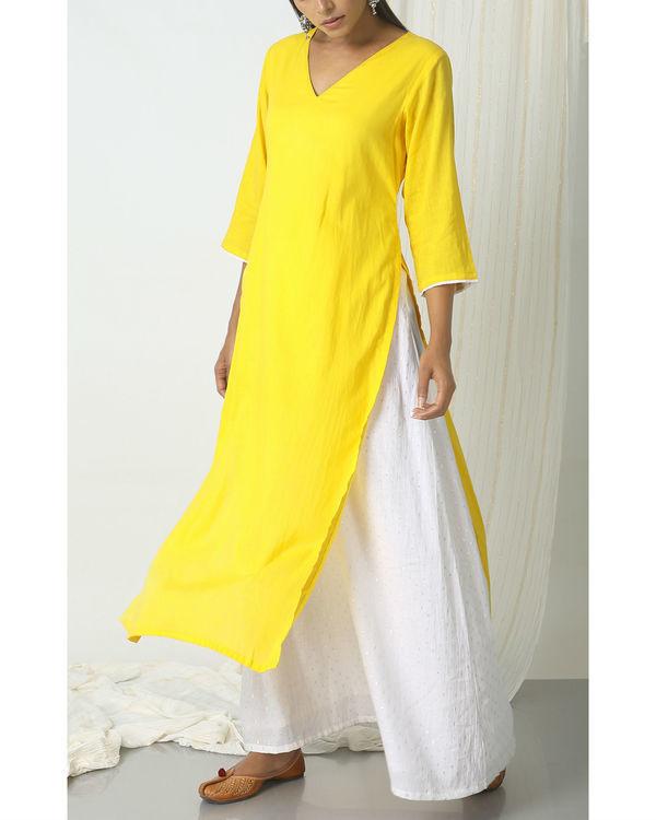 Yellow kurta silver white flare suit dress 4