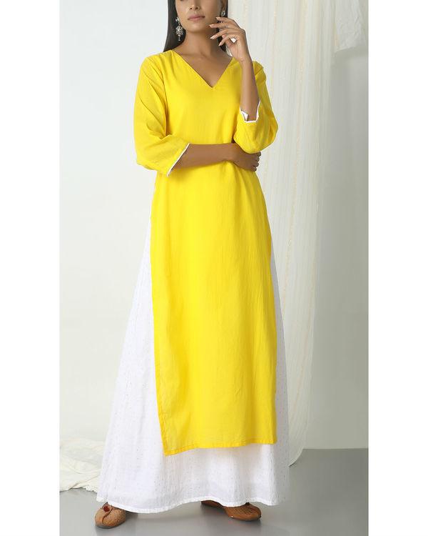 Yellow kurta silver white flare suit dress 3