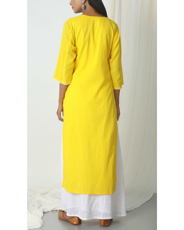 Yellow kurta silver white flare suit dress 2