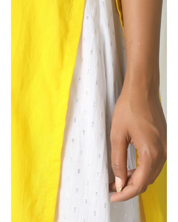Yellow kurta silver white flare suit dress 1