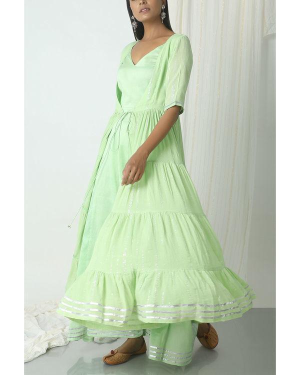 Mint green crinkled jacket dress set 4