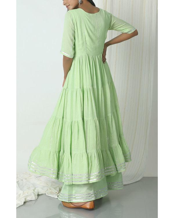 Mint green crinkled jacket dress set 3