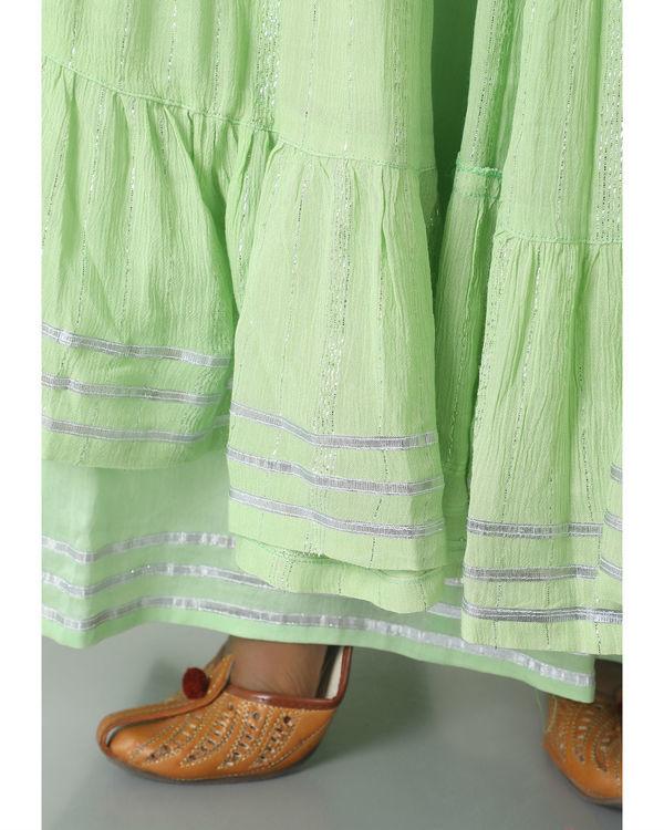 Mint green crinkled jacket dress set 2