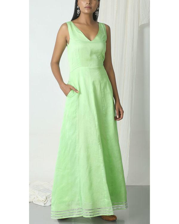 Mint green crinkled jacket dress set 1