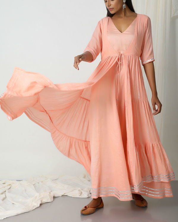 Peach crinkled jacket dress set 4