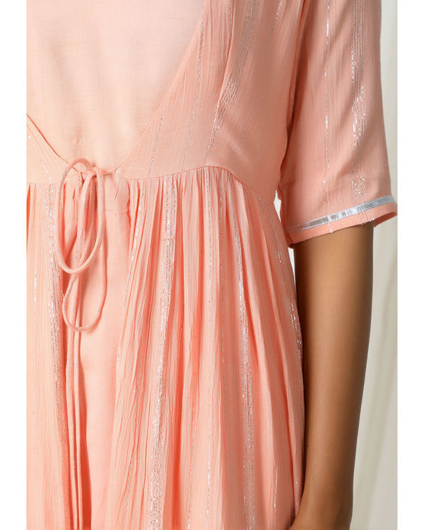 Peach crinkled jacket dress set 1