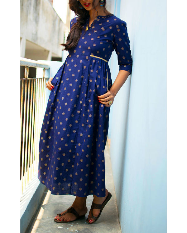 Navy print gathered dress 1