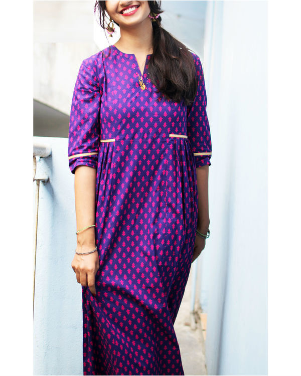 Purple and pink motif dress 1