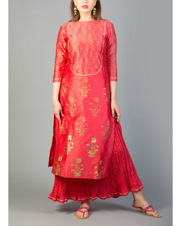 Rhubarb red mughal bootah kurta set with dupatta 3