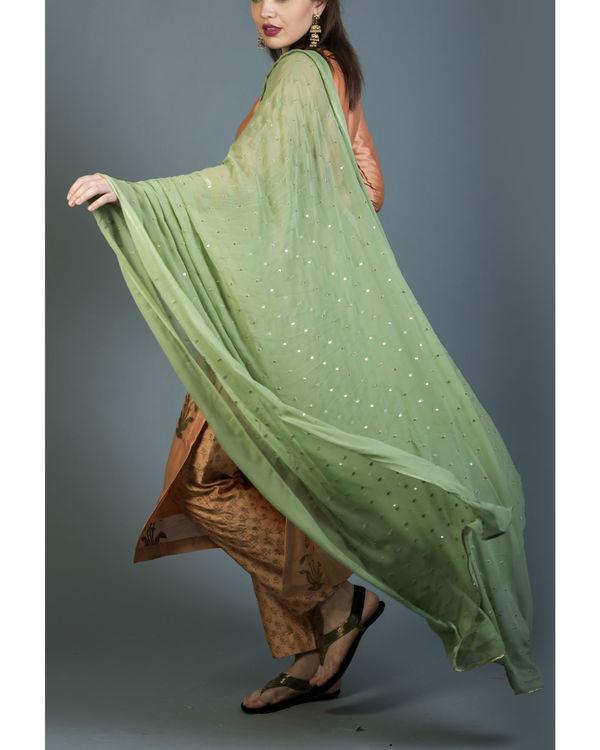 Regal foil printed kurta set with olive green dupatta 3