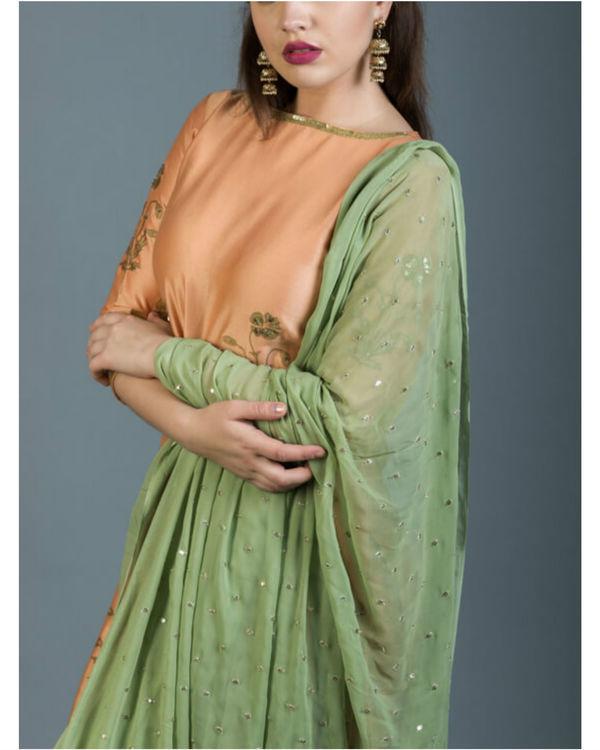 Regal foil printed kurta set with olive green dupatta 2