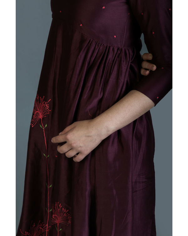 Burgundy dandelion embroidered anarkali set 1