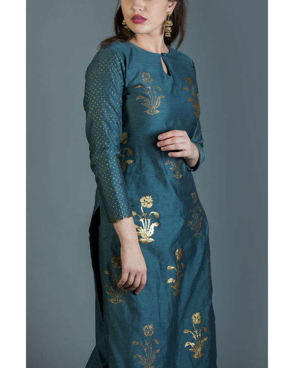 Cornflower blue foil printed kurta 1