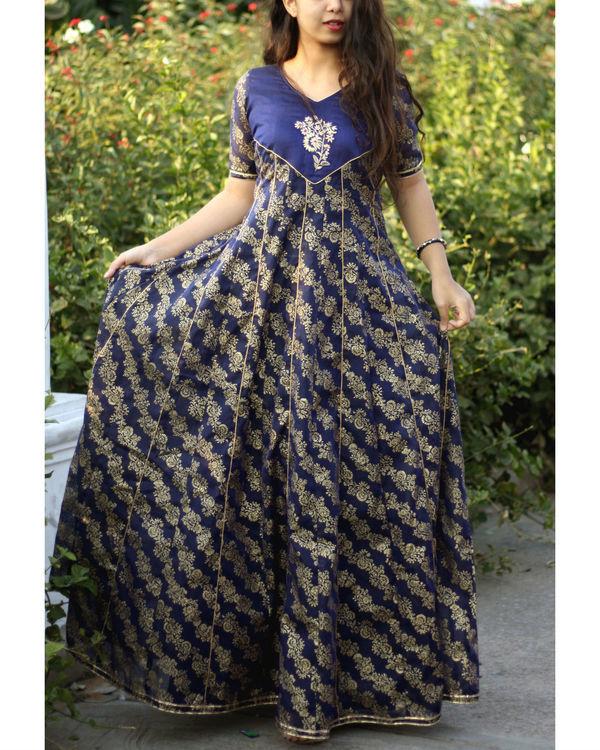 Blue foil print kalidar gown 3