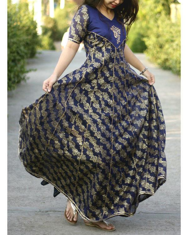Blue foil print kalidar gown 2