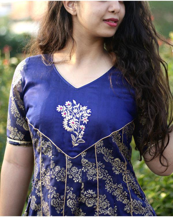 Blue foil print kalidar gown 1