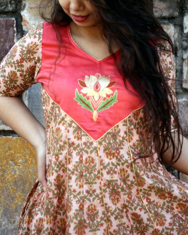 Peach foil print kalidar gown 1