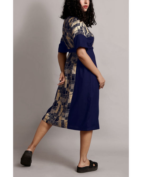 Printed midi dress with waist belt 1