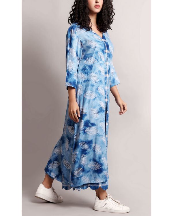 Blue leaf printed kurta set 2