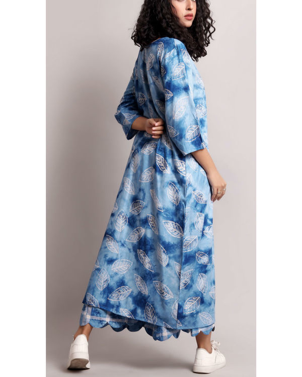 Blue leaf printed kurta set 1