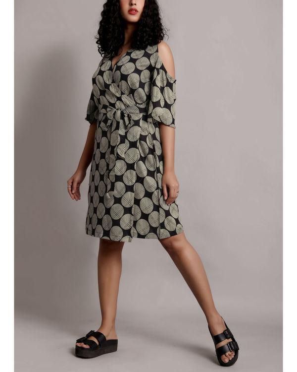 Grey cold shoulder wrap dress 2