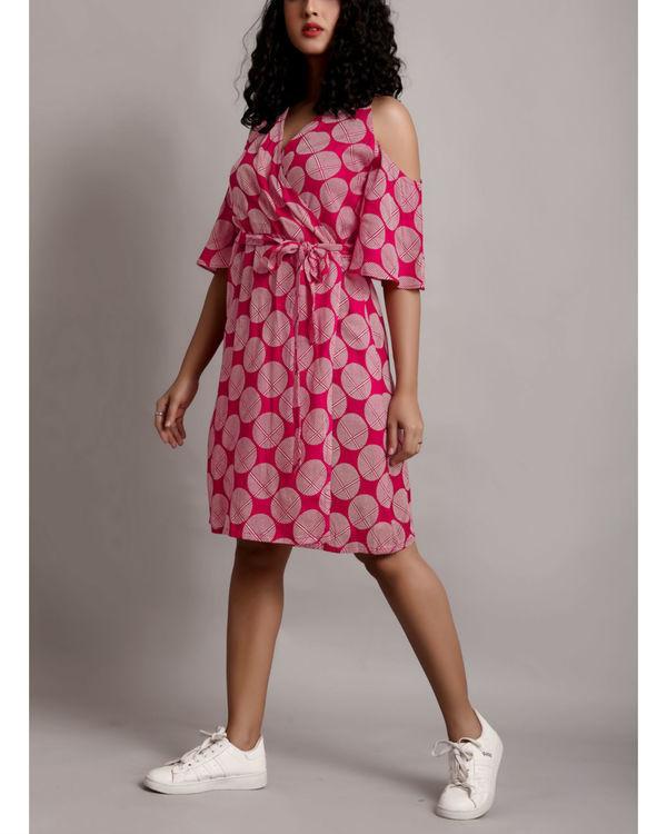 Pink cold shoulder wrap dress 2
